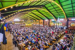 Beer Tent. MUNICH - SEPTEMBER 30: Beer Tent on the Theresienwiese Oktoberfest fair grounds September 30, 2013 in Munich, Germany Royalty Free Stock Images