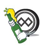 With beer Tenx coin mascot cartoon. Vector illustration Royalty Free Stock Photo