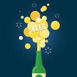 Beer and  text gushing from bottle. On blue background. flat design Royalty Free Stock Photos