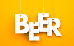 BEER. Text hanging on the strings Stock Image
