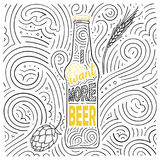 Beer theme card design. The lettering - I Want More Beer. Stock Photography