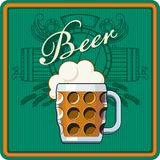 Beer theme in green Royalty Free Stock Images
