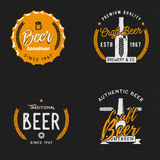 Beer themed badge in vintage style. On dark background, beer related labels, logos, emblems, symbols, logo templates Royalty Free Stock Images