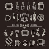 Beer thin line icons. Brewery outline signs with beer mug and beer bottle, brewing hops and beer barrels. Vector illustration Stock Image