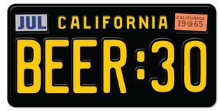 Beer Thity 30 License Plate California. Beer Thirty :30 License Plate Art Black Vintage CA old surfer stock illustration
