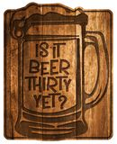 Beer Thirty Sign. Wood plaque engraved old tavern style 30 bar or man cave decor royalty free illustration