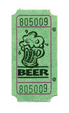 Beer Ticket. A green ticket used to purchase ale Stock Photography