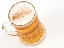 Beer time. Cold beer from top, on white Stock Photo