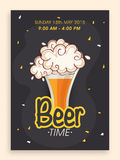 Beer time flyer or banner design. Royalty Free Stock Photos