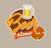Beer time. Beer mug with the inscription on the round background Royalty Free Illustration