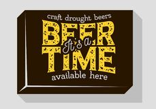 Beer Time Typographic Sign Design For Pubs Restaurants Bars For Promotion. Vintage Aesthetic Influenced. Vector Graphic Stock Photography