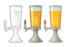 Beer tower with tap. Vintage vector color engraving illustration vector illustration