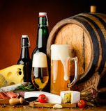 Beer and traditional food stock photos