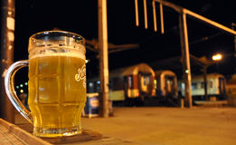 Beer at the Train Station, Eastern Europe Royalty Free Stock Photo