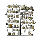 Beer tree, sketch for your design Royalty Free Stock Photography