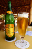 Beer in a Tropical Place. A cold glass of beer next to its bottle in a tropical cabanna location stock photos