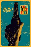 Beer typographical vintage style grunge poster. The hand holds an empty bottle of beer. Retro  illustration. Royalty Free Stock Images