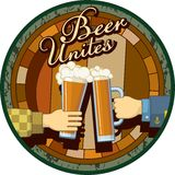 Beer Unites theme in green Royalty Free Stock Images