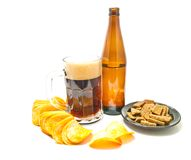 Beer and a variety of snacks closeup Royalty Free Stock Photography