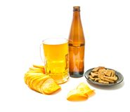 Beer and a variety of snacks Royalty Free Stock Photo