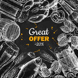 Beer vector chalkboard discount banner. Alcohol beverage hand drawn special offer. Royalty Free Stock Photography