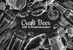 Beer vector chalkboard frame banner. Alcohol beverage hand drawn illustration Royalty Free Stock Photos