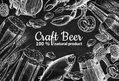 Beer vector chalkboard frame banner. Alcohol beverage hand drawn illustration. Beer glass, mug, wooden mug, bottle, barrel, snack, hop, wheat, fish, crayfish Royalty Free Stock Photos
