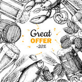 Beer vector discount banner. Alcohol beverage hand drawn special offer. Beer glass, mug, wooden mug, bottle, barrel, snack, hop, wheat, fish, crayfish Stock Photos