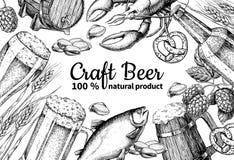 Beer vector frame banner. Alcohol beverage hand drawn illustration. Beer glass, mug. Wooden mug, bottle, barrel, snack, hop, wheat, fish, crayfish engraving Stock Photo