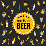Beer vector icons background - bottle, glass, pint Royalty Free Stock Photography