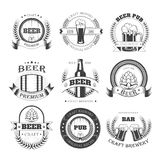 Beer vector icons for brewery bar pub or product labels. Beer vector logo templates for brewery bar or beer pub and beerhouse. Vector isolated icons of beer Royalty Free Stock Photography