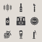 Beer vector icons set bottle, glass Royalty Free Stock Photography