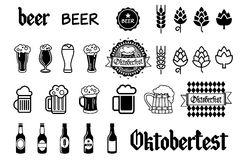 Beer vector icons set - bottle, glass, pint Royalty Free Stock Photos