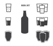 Beer vector icons set Stock Photo