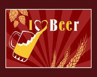 Beer vector poster. Vintage poster template for cold beer. Retro label or banner design. Stock Photos