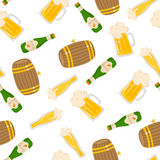 Beer. Vector seamless pattern with beer bottle. Light beer, mugs, bottles, beer keg. Great for your creative design. For wrapping paper, textiles and other food Royalty Free Stock Photos