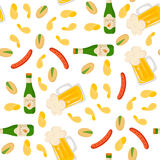 Beer. Vector seamless pattern with beer snacks. Light beer, mugs, bottles, sausages, snack. Great for your creative design. For wrapping paper, textiles and Stock Photos