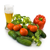 Beer and vegetables Stock Photos