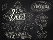 Beer vintage elements. Chalk. Vintage Elements stylized under a chalk drawing on the theme of beer on a black background (retro style, patterns, acorn Stock Image