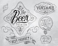 Beer vintage elements. Coal. Vintage Elements stylized under a coal drawing on the theme of beer on a white background (retro style, patterns, acorn Royalty Free Stock Photos