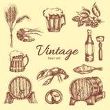 Beer Vintage Monochrome Set stock illustration