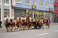 Beer waggon on its way to begin of parade. A  beer waggon makes its way to the gathering place of the waggons before the beginning of the Beer Parade at the Stock Photography
