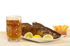 Beer and walleye hot smoking Stock Images