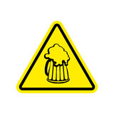 Beer Warning sign yellow. Alcohol Hazard attention symbol. Dange Stock Photo