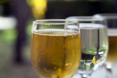 Beer and Water Glasses. Water and beer glasses full and showing reflection Stock Photos