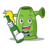With beer watering can character cartoon Stock Image
