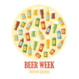 Beer week colorful poster. With flat icons of various types of bottles cans glasses. Round design template vector illustration. Place for text. Isolated on Stock Photography