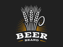 Beer wheat logo - vector illustration, ear emblem on black background Royalty Free Stock Photography