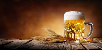 Beer With Wheat. On Wooden Table Royalty Free Stock Image