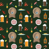 Beer whiskey pub drink eat snack pattern seamless texture Stock Photos
